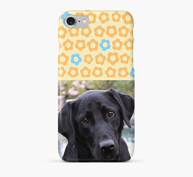 Flower Pattern Phone Case with photo of your Labrador Retriever