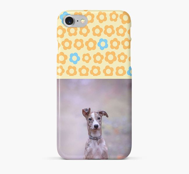 Flower Pattern Phone Case with photo of your Lurcher