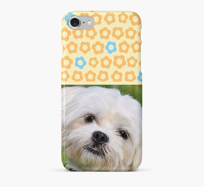 Flower Pattern Phone Case with photo of your Maltese