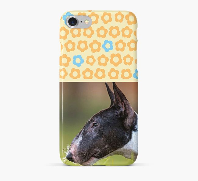Flower Pattern Phone Case with photo of your Miniature Bull Terrier
