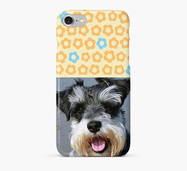 Flower Pattern Phone Case with photo of your Miniature Schnauzer