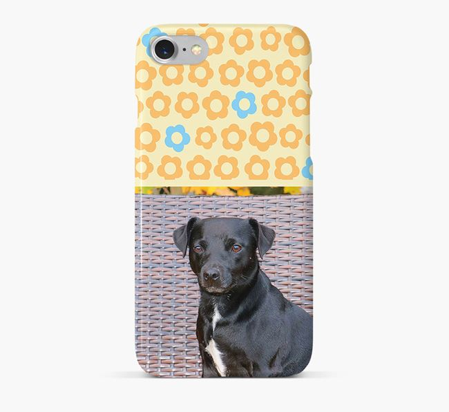 Flower Pattern Phone Case with photo of your Patterdale Terrier