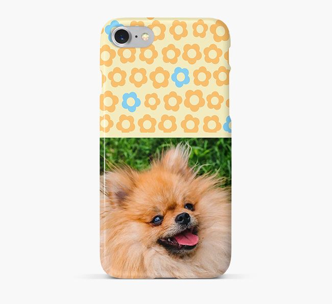 Flower Pattern Phone Case with photo of your Pomeranian