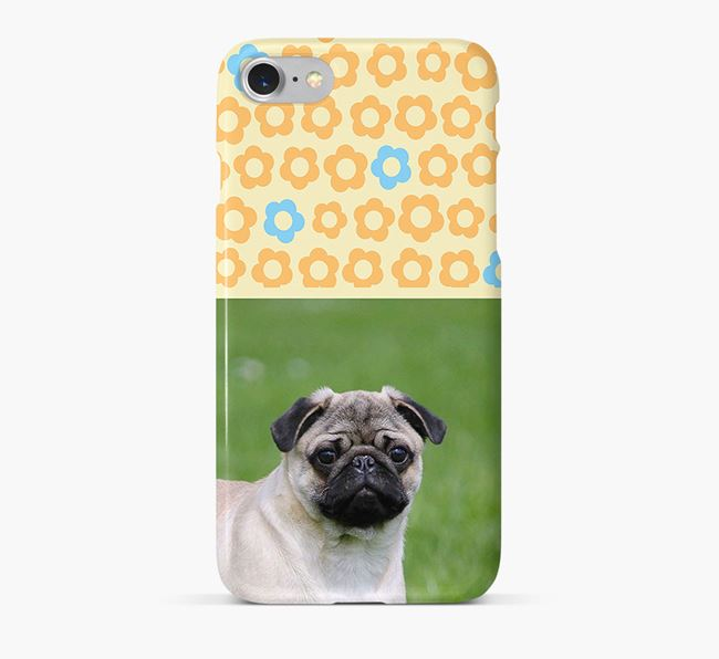 Flower Pattern Phone Case with photo of your Pug