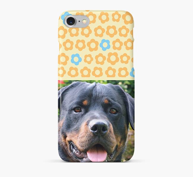 Flower Pattern Phone Case with photo of your Rottweiler