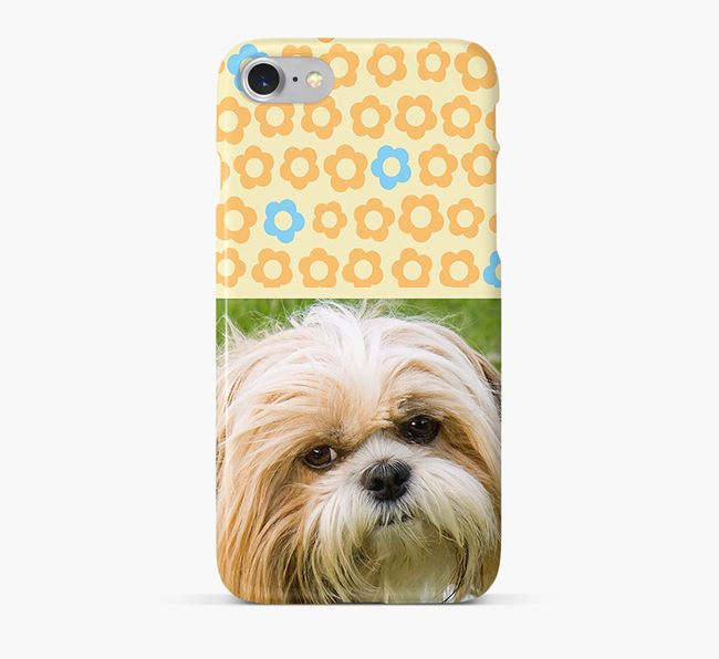Flower Pattern Phone Case with photo of your Shih Tzu