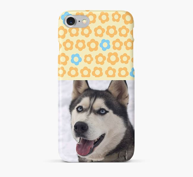 Flower Pattern Phone Case with photo of your Siberian Husky