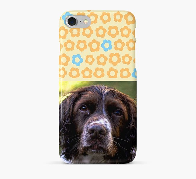 Flower Pattern Phone Case with photo of your Springer Spaniel