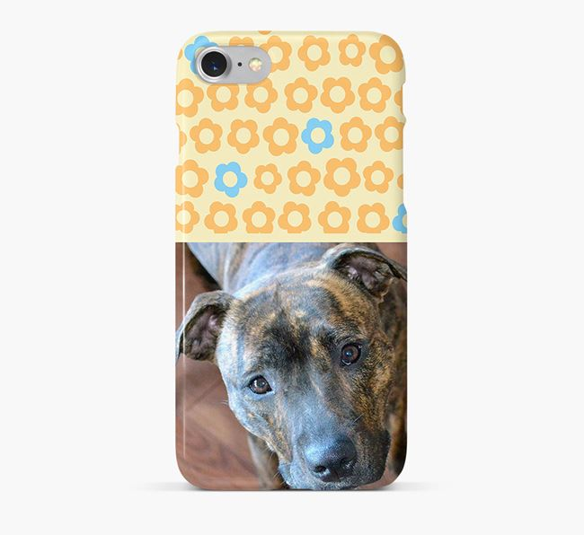 Flower Pattern Phone Case with photo of your Staffordshire Bull Terrier