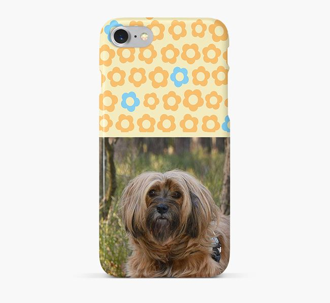 Flower Pattern Phone Case with photo of your Tibetan Terrier
