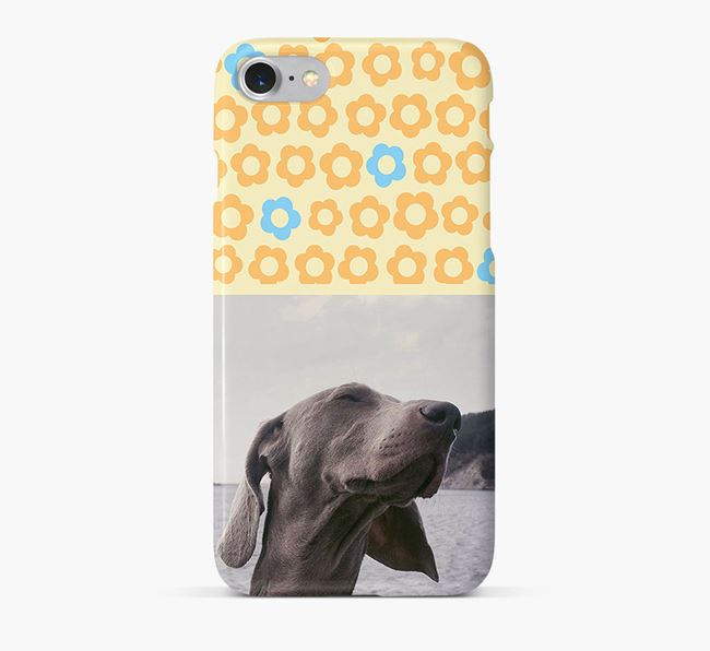 Flower Pattern Phone Case with photo of your Weimaraner