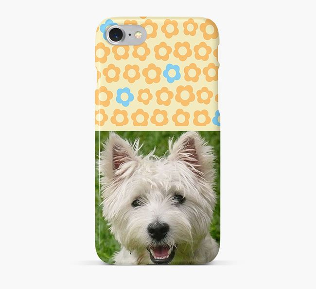 Flower Pattern Phone Case with photo of your West Highland White Terrier