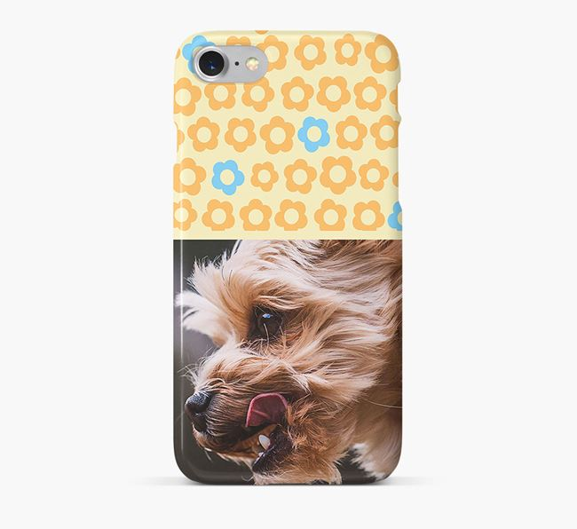 Flower Pattern Phone Case with photo of your Yorkshire Terrier