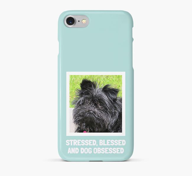 'Stressed, Blessed and Dog Obsessed' Phone Case with photo of your Affenpinscher