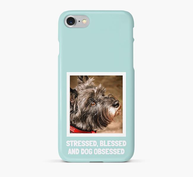 'Stressed, Blessed and Dog Obsessed' Phone Case with photo of your Cairn Terrier