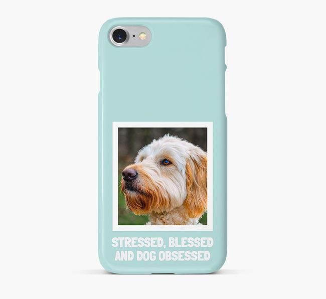 'Stressed, Blessed and Dog Obsessed' Phone Case with photo of your Goldendoodle