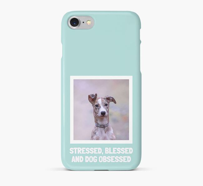'Stressed, Blessed and Dog Obsessed' Phone Case with photo of your Lurcher