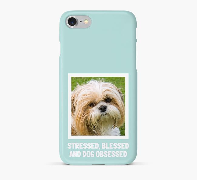 'Stressed, Blessed and Dog Obsessed' Phone Case with photo of your Shih Tzu
