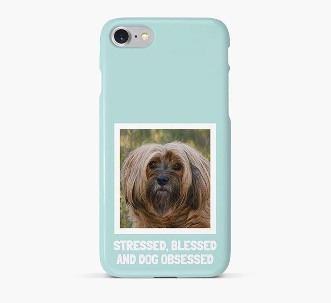 'Stressed, Blessed and Dog Obsessed' Phone Case with photo of your Tibetan Terrier