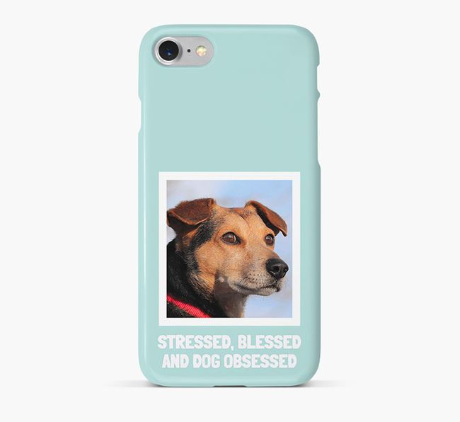 'Stressed, Blessed and Dog Obsessed' Phone Case with photo of your White Swiss Shepherd Dog