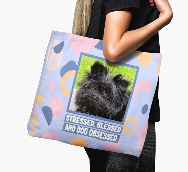 Photo Upload 'Stressed, Blessed and Dog Obsessed' Canvas Bag with Affenpinscher Picture