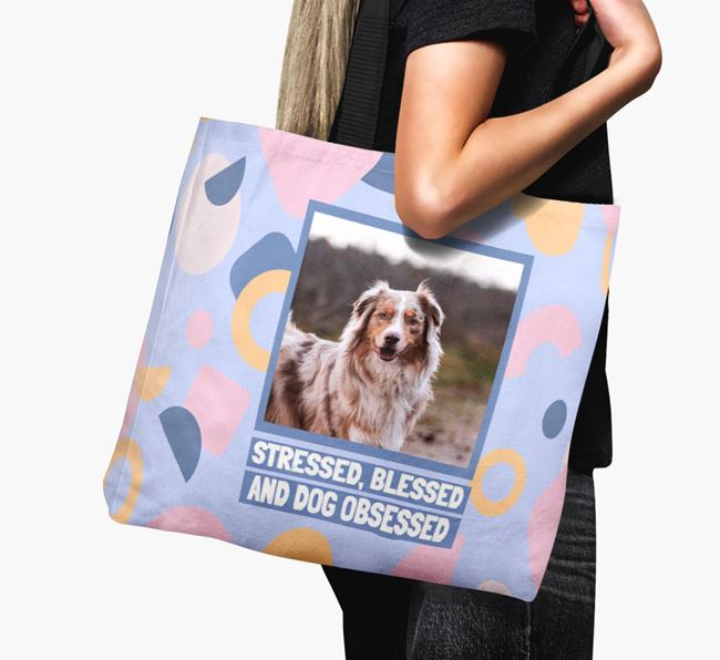 Photo Upload 'Stressed, Blessed and Dog Obsessed' Canvas Bag with Australian Shepherd Picture