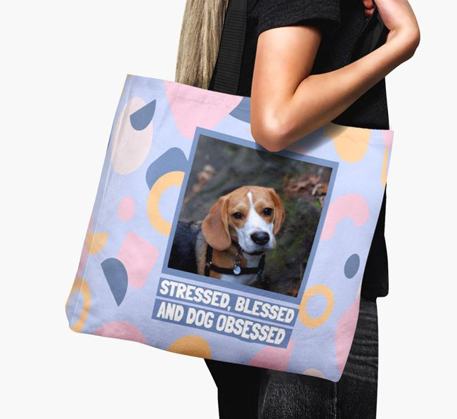 Photo Upload 'Stressed, Blessed and Dog Obsessed' Canvas Bag with Beagle Picture