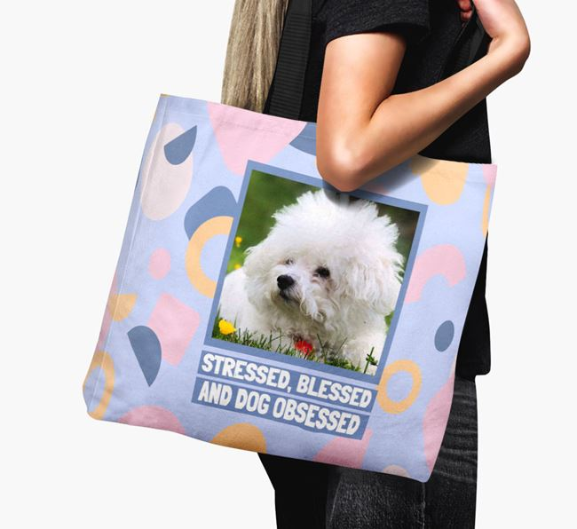 Photo Upload 'Stressed, Blessed and Dog Obsessed' Canvas Bag with Bichon Frise Picture