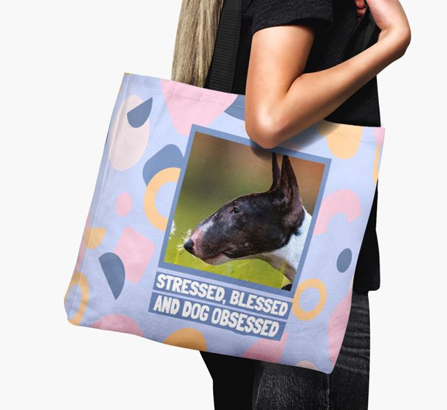 'Dog Obsessed' - Bull Terrier Photo Upload Canvas Bag