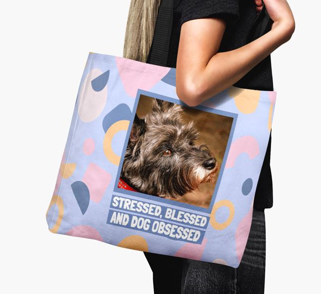Photo Upload 'Stressed, Blessed and Dog Obsessed' Canvas Bag with Cairn Terrier Picture