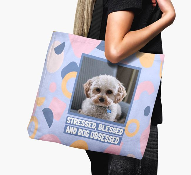 Photo Upload 'Stressed, Blessed and Dog Obsessed' Canvas Bag with Cavapoo Picture