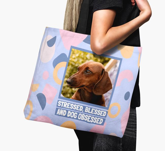Photo Upload 'Stressed, Blessed and Dog Obsessed' Canvas Bag with Dachshund Picture