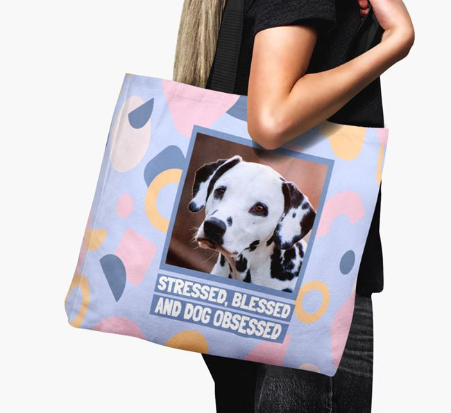 Photo Upload 'Stressed, Blessed and Dog Obsessed' Canvas Bag with Dalmatian Picture