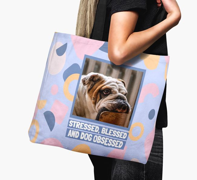 'Dog Obsessed' - English Bulldog Photo Upload Canvas Bag