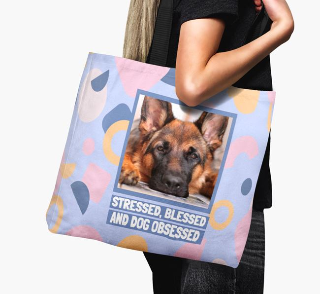 Photo Upload 'Stressed, Blessed and Dog Obsessed' Canvas Bag with German Shepherd Picture