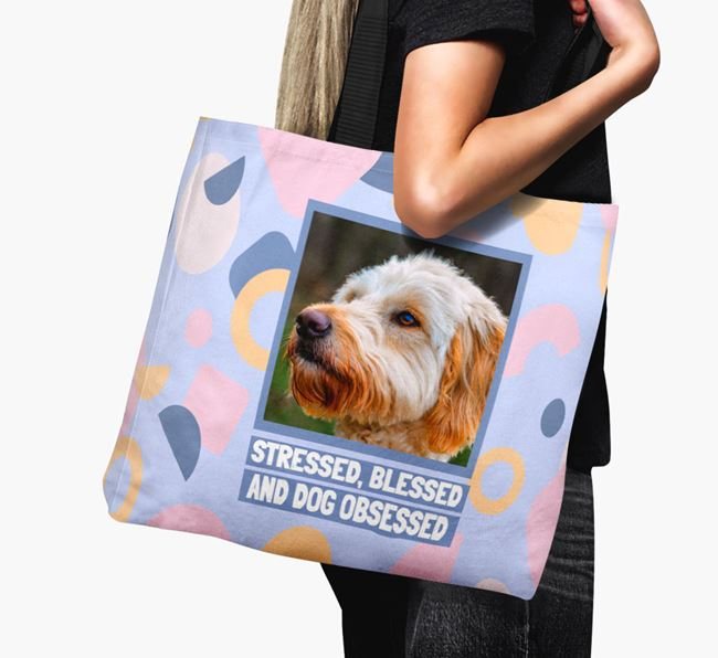 Photo Upload 'Stressed, Blessed and Dog Obsessed' Canvas Bag with Goldendoodle Picture
