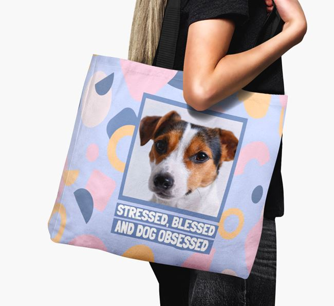 Photo Upload 'Stressed, Blessed and Dog Obsessed' Canvas Bag with Jack Russell Terrier Picture