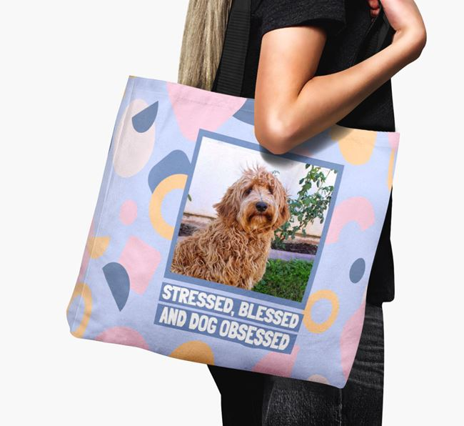 Photo Upload 'Stressed, Blessed and Dog Obsessed' Canvas Bag with Labradoodle Picture