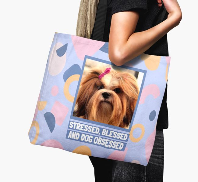 Photo Upload 'Stressed, Blessed and Dog Obsessed' Canvas Bag with Lhasa Apso Picture