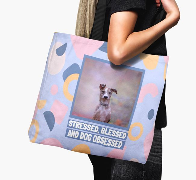 Photo Upload 'Stressed, Blessed and Dog Obsessed' Canvas Bag with Lurcher Picture