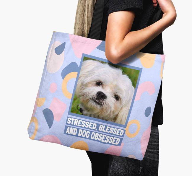 Photo Upload 'Stressed, Blessed and Dog Obsessed' Canvas Bag with Maltese Picture