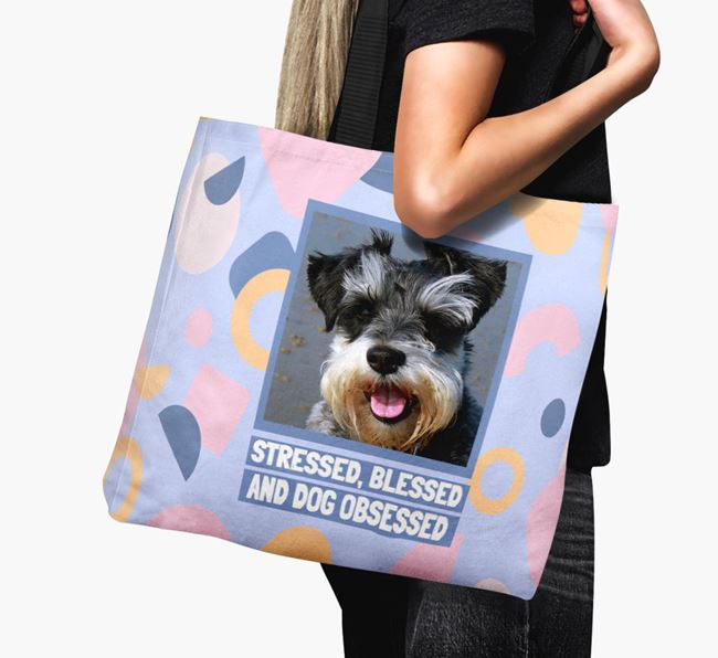 Photo Upload 'Stressed, Blessed and Dog Obsessed' Canvas Bag with Miniature Schnauzer Picture