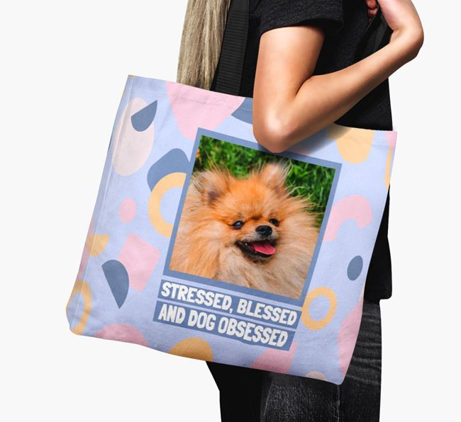 Photo Upload 'Stressed, Blessed and Dog Obsessed' Canvas Bag with Pomeranian Picture