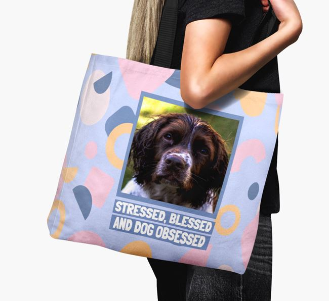 Photo Upload 'Stressed, Blessed and Dog Obsessed' Canvas Bag with Springer Spaniel Picture