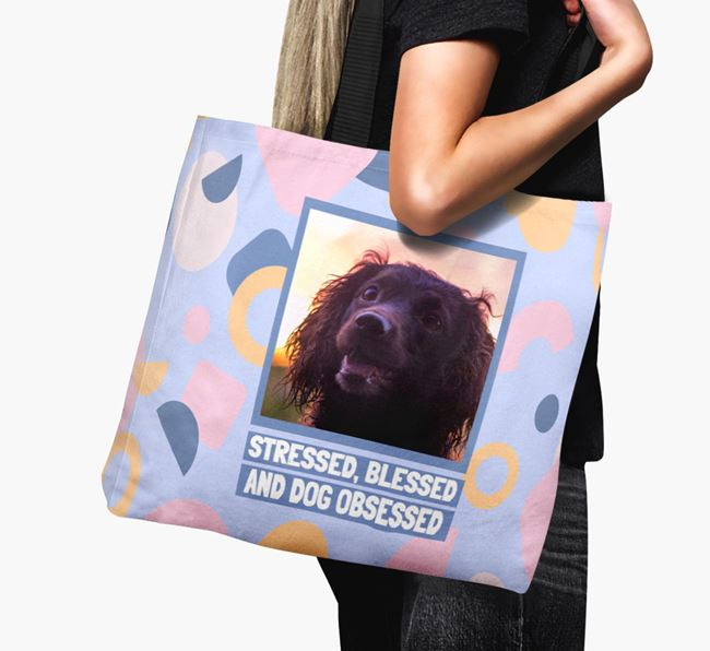 Photo Upload 'Stressed, Blessed and Dog Obsessed' Canvas Bag with Sprocker Picture