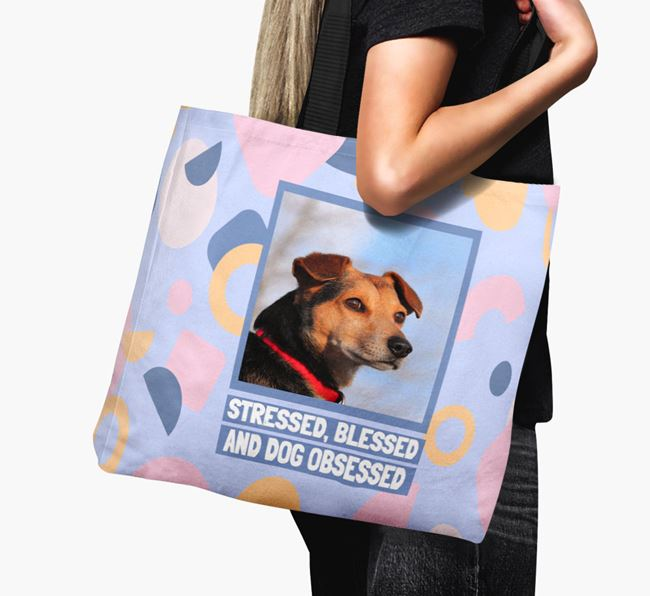 Photo Upload 'Stressed, Blessed and Dog Obsessed' Canvas Bag with Staffy Jack Picture