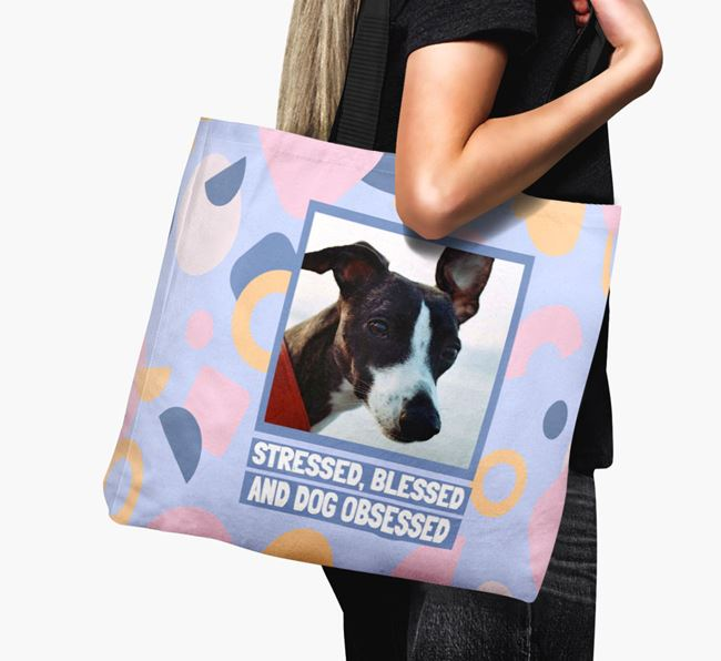 Photo Upload 'Stressed, Blessed and Dog Obsessed' Canvas Bag with Whippet Picture