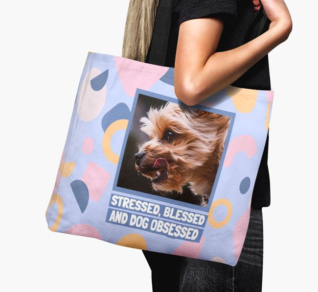 Photo Upload 'Stressed, Blessed and Dog Obsessed' Canvas Bag with Yorkshire Terrier Picture