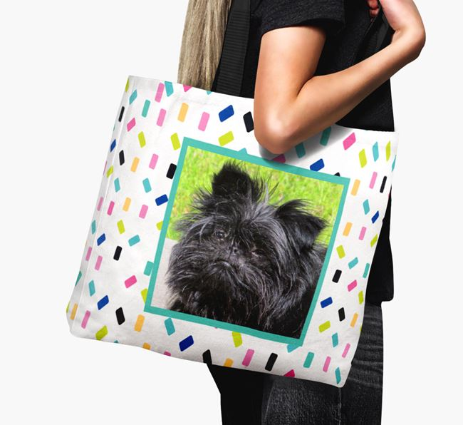 Photo Upload Canvas Bag with Colourful Pattern - Personalised for your Affenpinscher