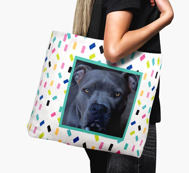 Photo Upload Canvas Bag with Colourful Pattern - Personalised for your American Pit Bull Terrier